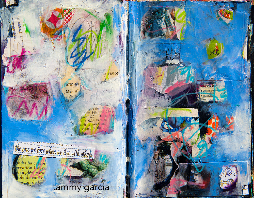 Art Journal Page by Tammy Garcia, Part of the Daisy Yellow Groovy Grunge Workshop.