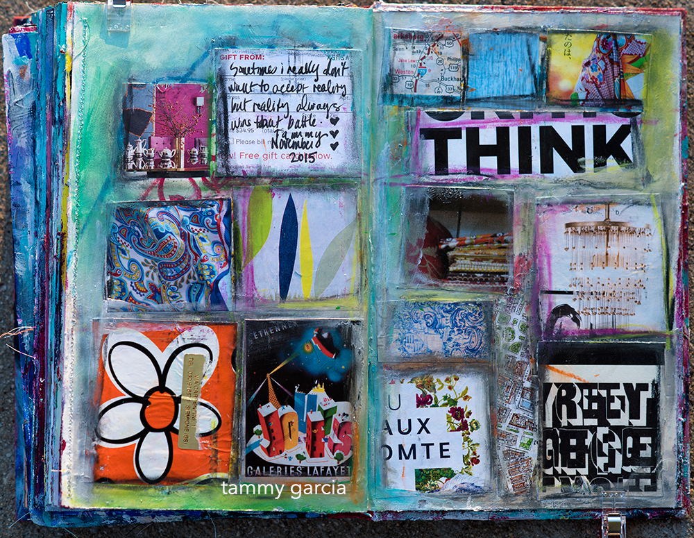 Art Journal Page by Tammy Garcia, Part of Daisy Yellow Novel Approach Workshop.