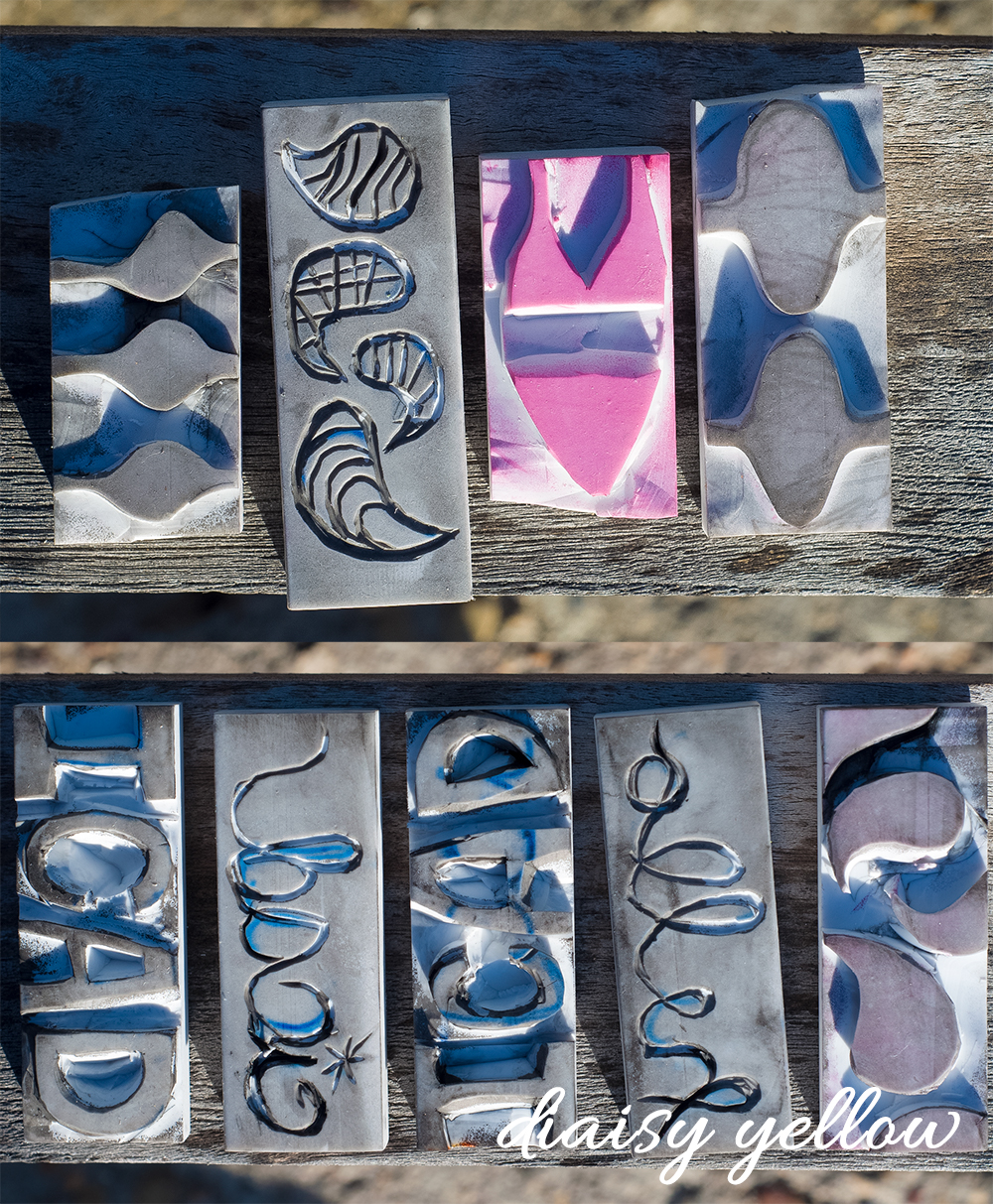 Hand-carved eraser stamps by Tammy Garcia