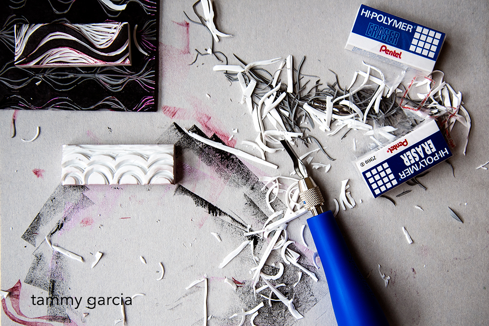 Hand-carved eraser stamps by Tammy Garcia.