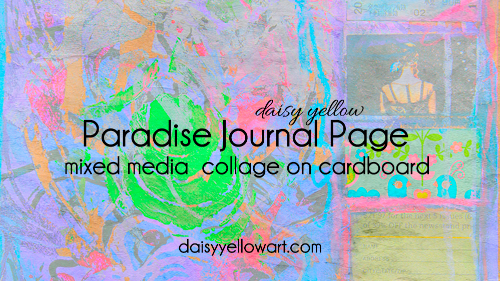 Paradise Journal Page:A mixed media art journal page with fluid acrylics, a stencil and collage.