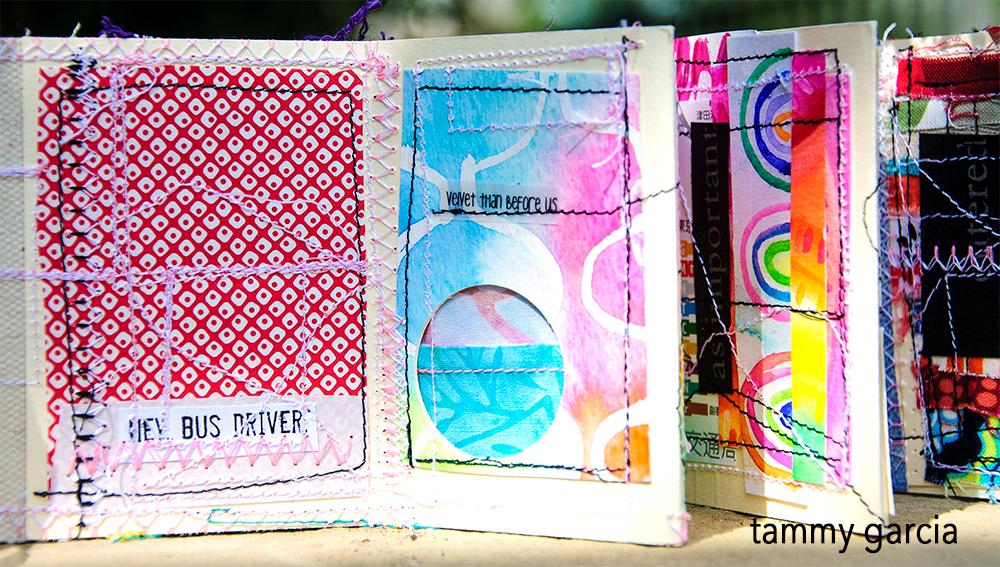 Stitched accordion book by Tammy Garcia.