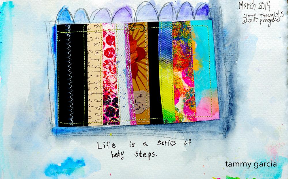 Stitched art journal page by Tammy Garcia.