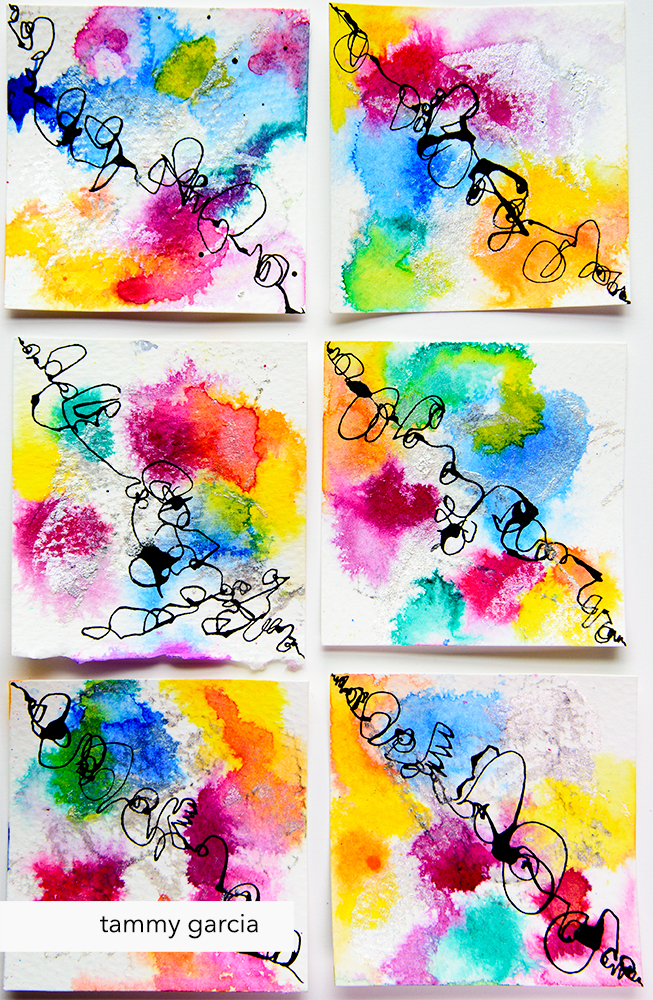 Diagonal abstract drawings in ink by Tammy Garcia daisyyellowart.com