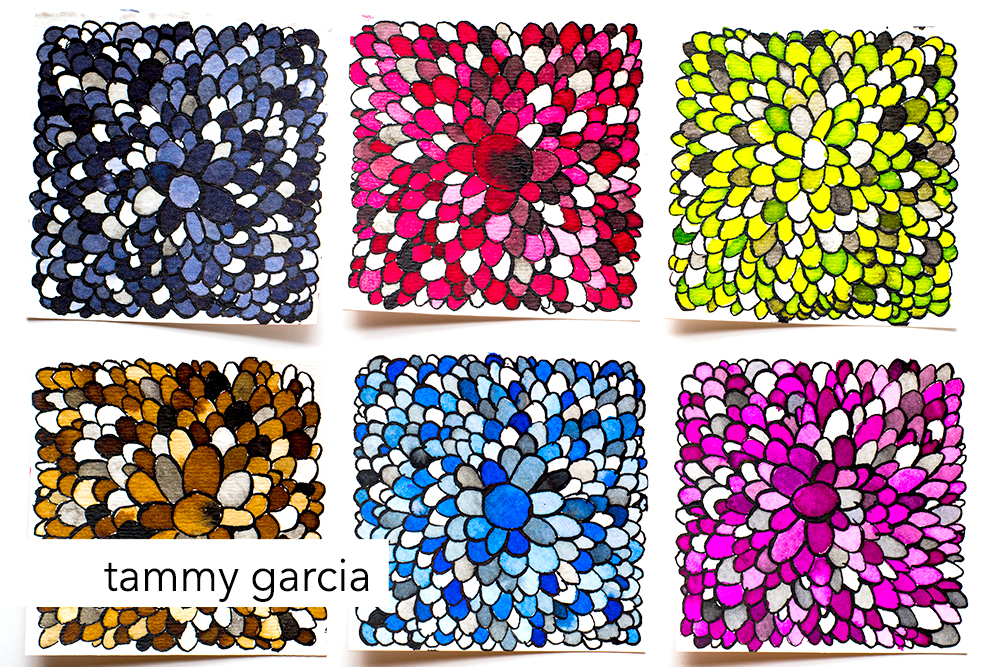 "Monochrome Mandalas, 3x3"" ink on watercolor paper by Tammy Garcia. https://daisyyellowart.com"