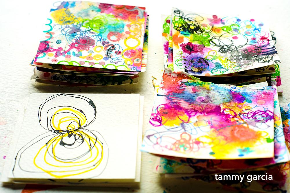 Inked cards by Tammy Garcia, https://daisyyellowart.com