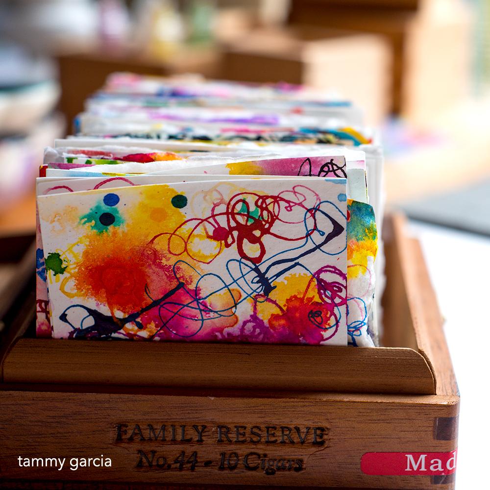 """186 3x3"""" inked cards by Tammy Garcia, https://daisyyellowart.com"""