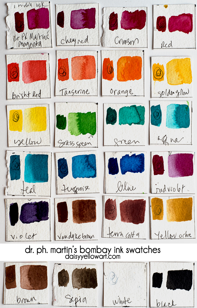 Dr. Ph. Martin's Bombay ink swatches. https://daisyyellowart.com
