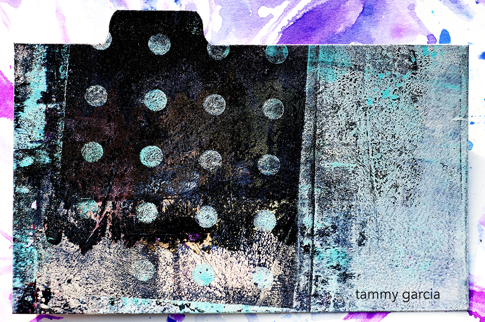 Gelatin print on index card by Tammy Garcia https://daisyyellowart.com