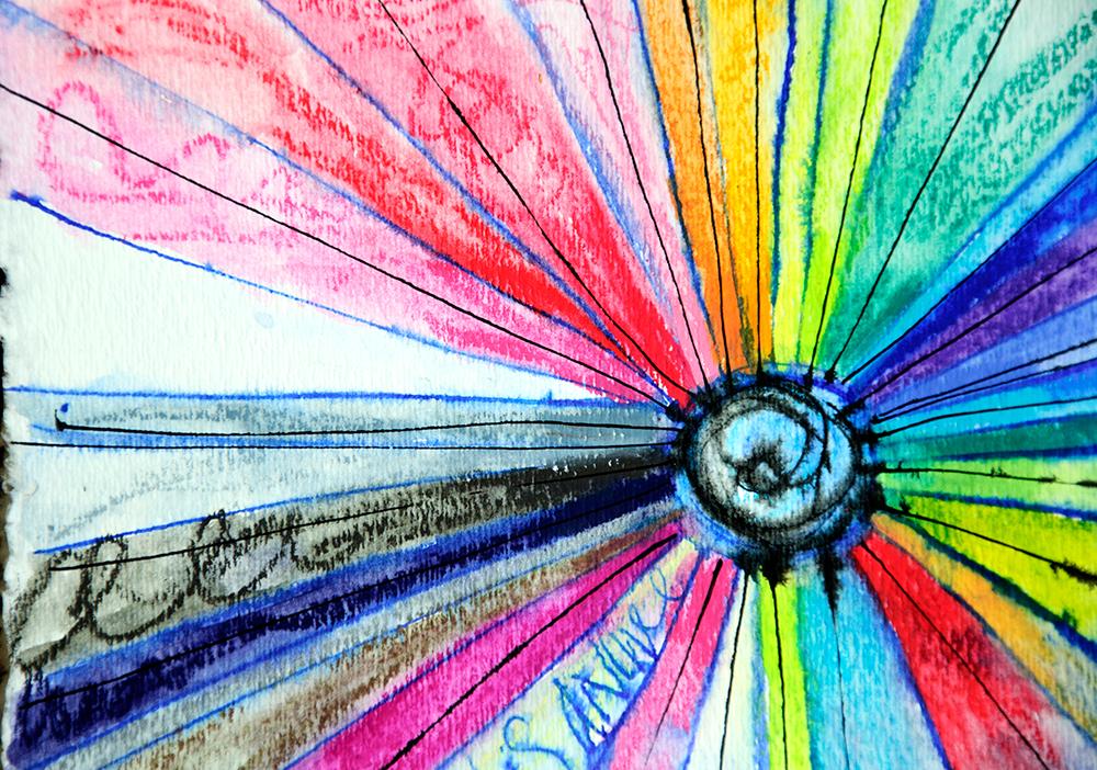 Mandala with Neocolor II Wax Crayons and ink.
