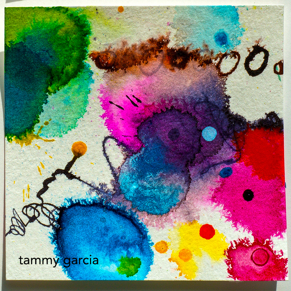 """3x3"""" abstract in ink by Tammy Garcia https://daisyyellowart.com"""