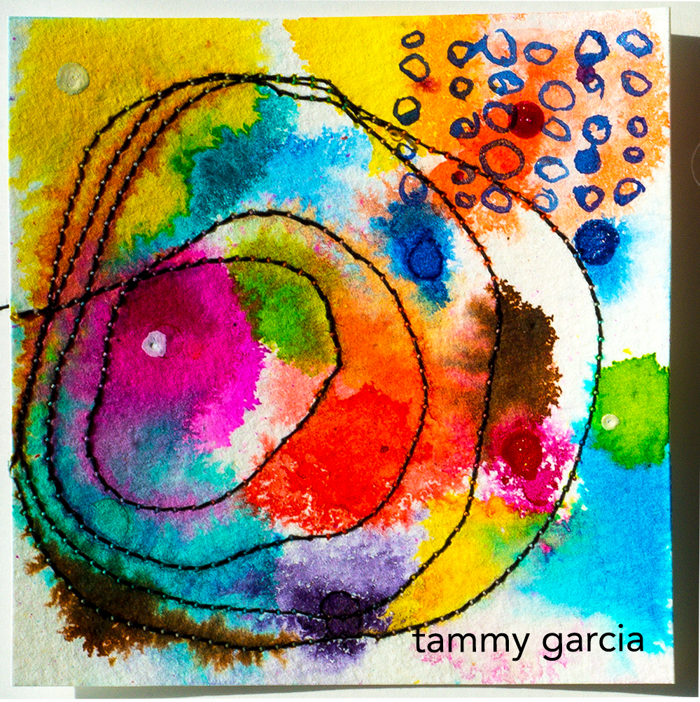"""3x3"""" abstract in ink and thread by Tammy Garcia https://daisyyellowart.com"""