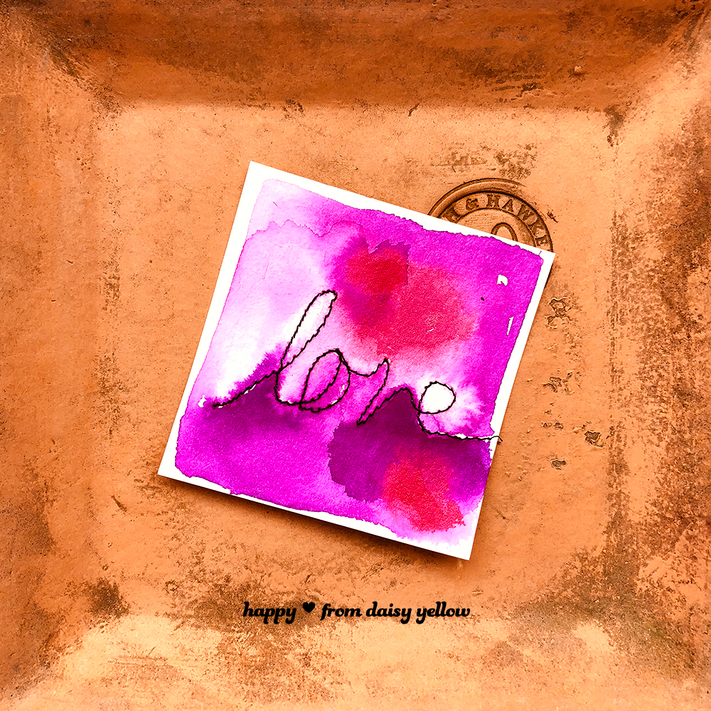 Stitched love card by Tammy Garcia https://daisyyellowart.com