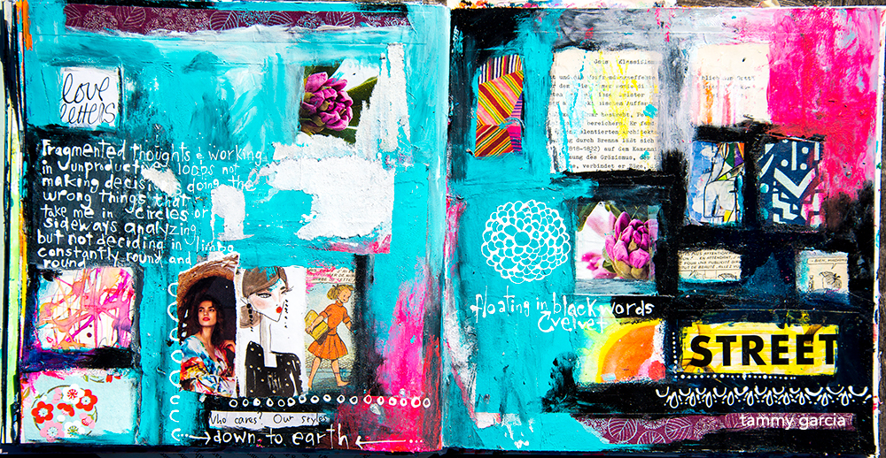 Art journal page by Tammy Garcia https://daisyyellowart.com