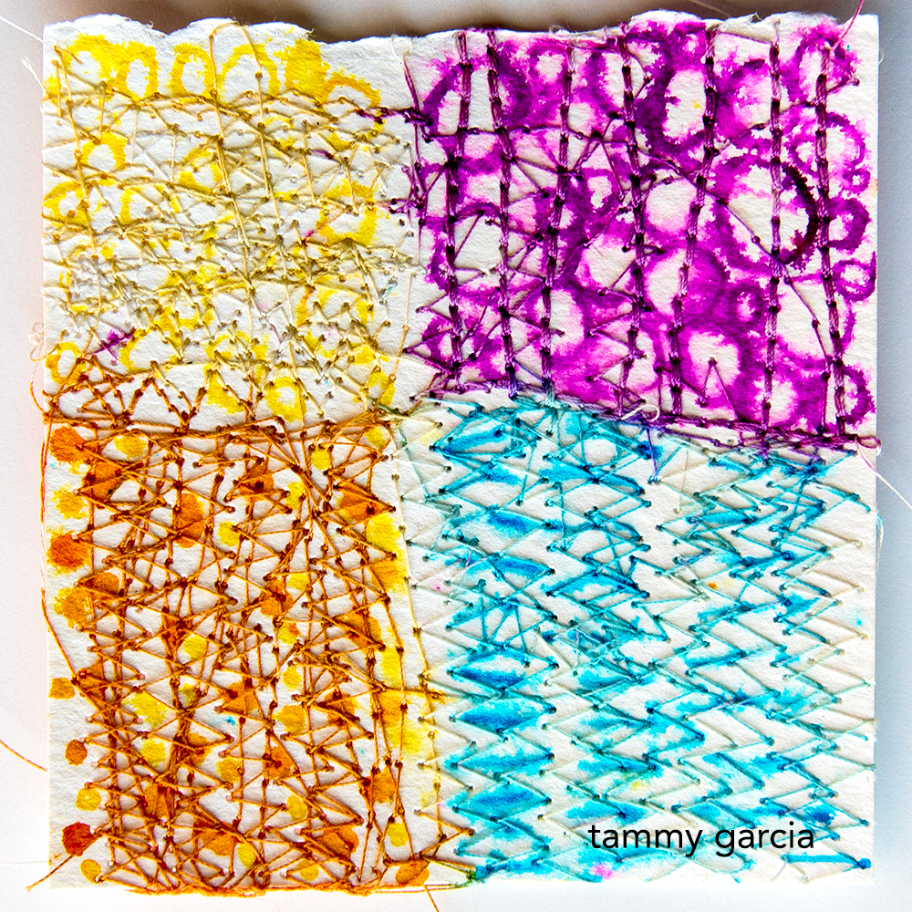 mixed media, thread and ink by Tammy Garcia https://daisyyellowart.com