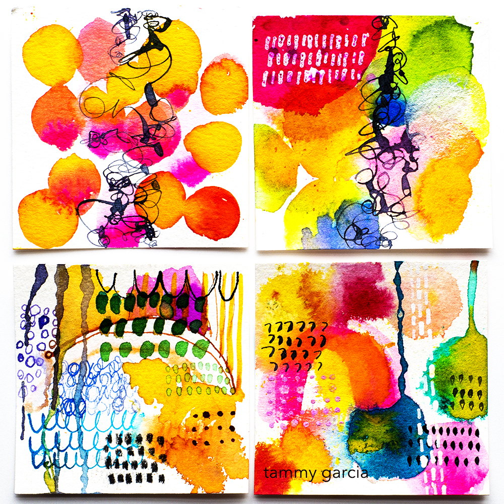 "3x3"" ink on watercolor paper by Tammy Garcia https://daisyyellowart.com #tinyart #abstractart"