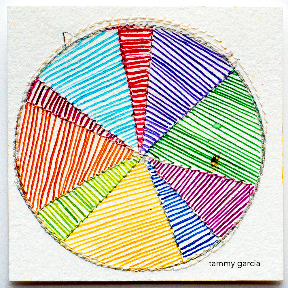 Rainbow color wheel in ink by Tammy Garcia https://daisyyellowart.com #piechart #sewingpaper