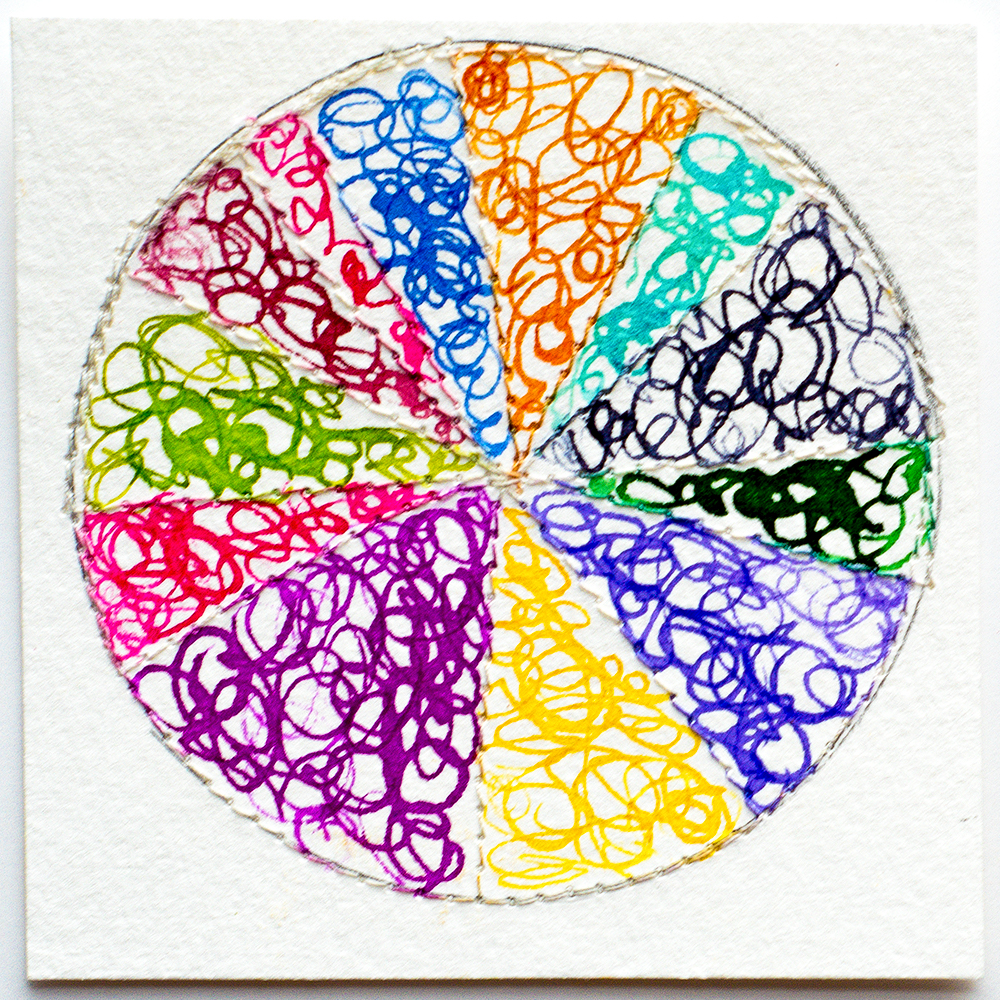 Rainbow color wheel in ink by Tammy Garcia https://daisyyellowart.com #piechart #mixedmedia #patternlove