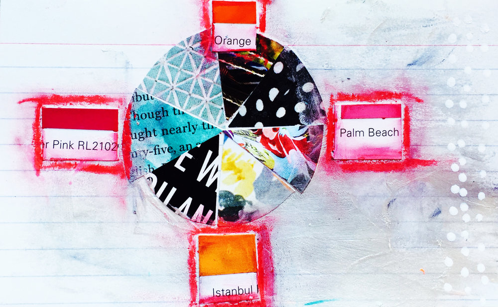 Index card art by Tammy Garcia https://daisyyellowart.com #mixedmedia #collage #piechart