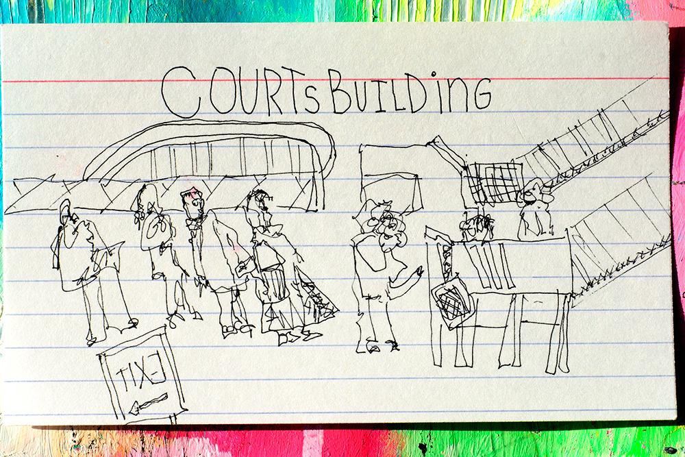 """3x5"""" index card by Tammy Garcia, sketch @ jury duty"""