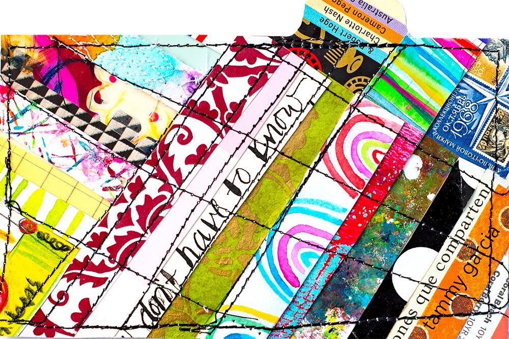"3x5"" index card, stitched collage by Tammy Garcia https://daisyyellowart.com"