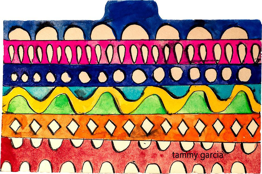 "3x5"" index card in ink/gouache by Tammy Garcia. https://daisyyellowart.com"