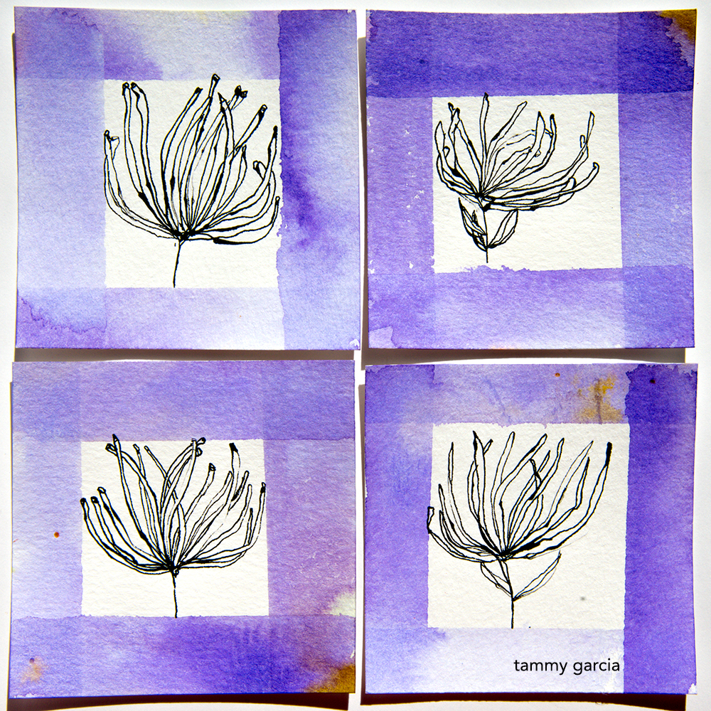 Flowers in ink by Tammy Garcia https://daisyyellowart.com