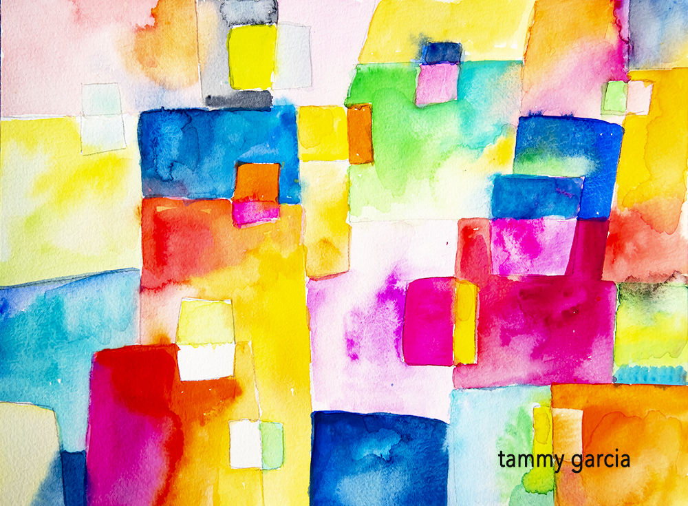 Abstract watercolor and gouache workshop https://daisyyellowart.com #gouache #abstractart #workshop