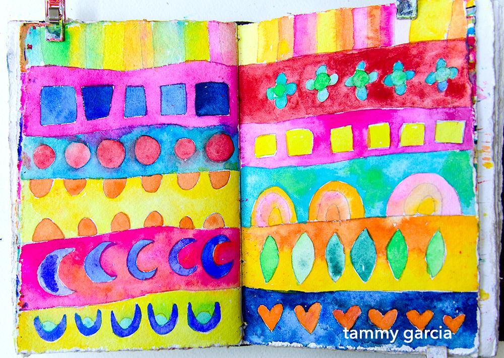 Doodle Stripes in gouache by Tammy Garcia https://daisyyellowart.com