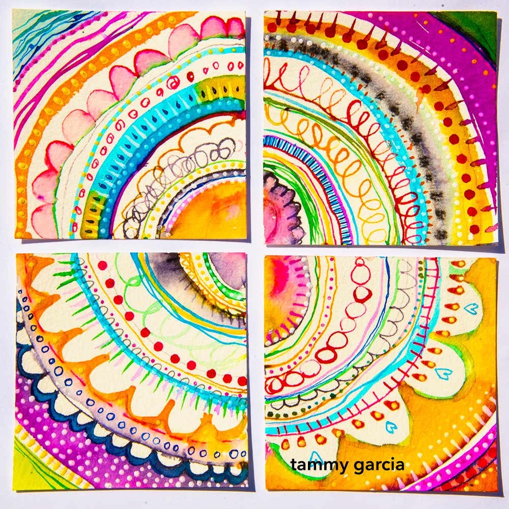 Inked art cards by Tammy Garcia https://daisyyellowart.com