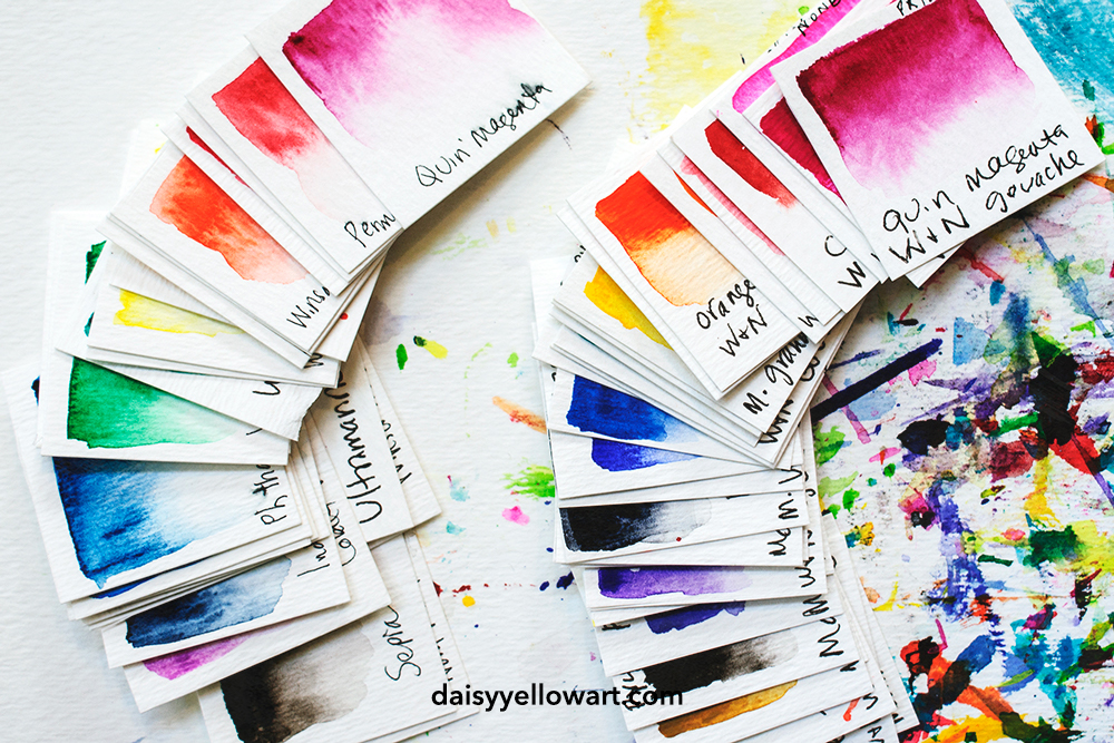 Painting swatches in gouache and watercolor by Tammy Garcia https://daisyyellowart.com