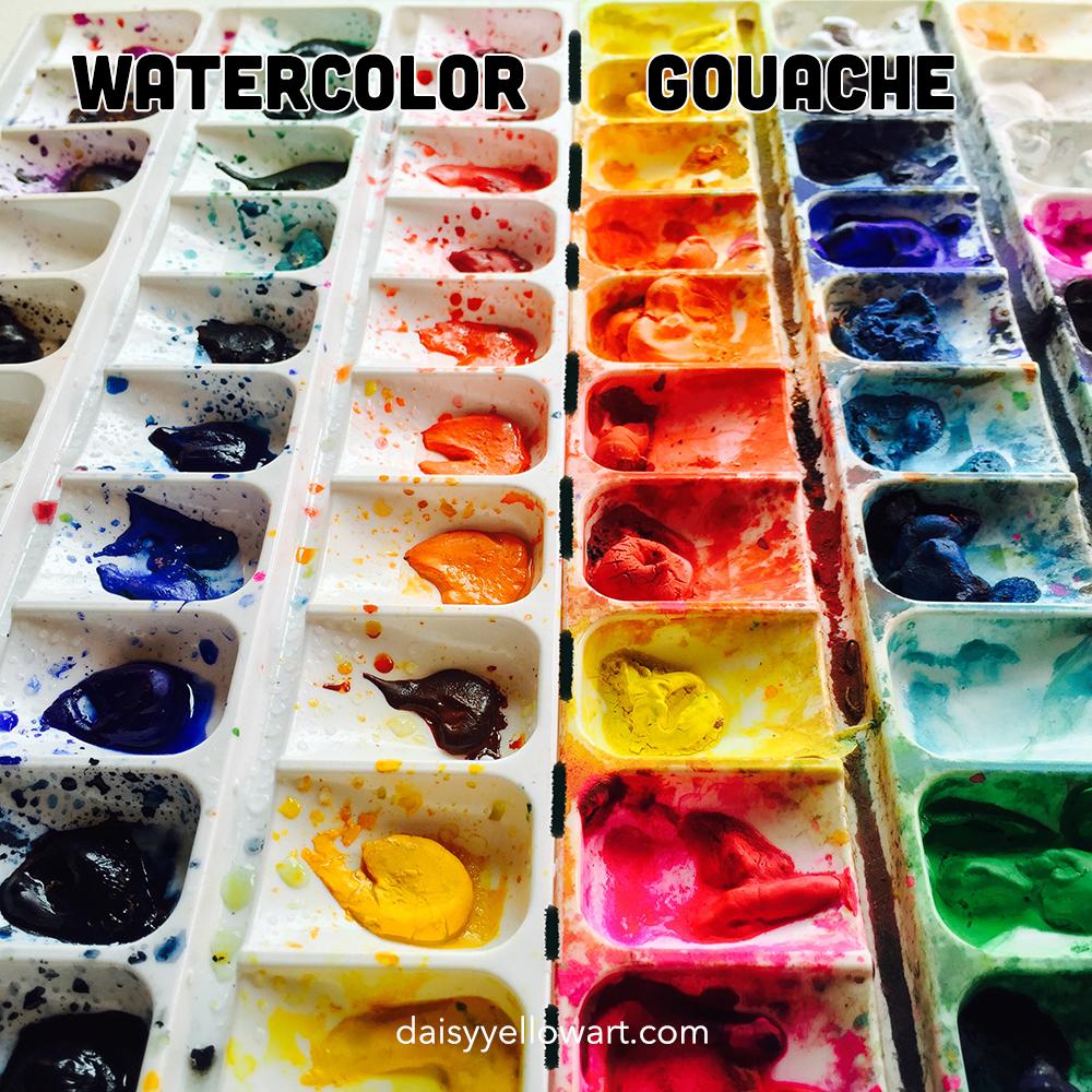 Watercolor & gouache paints. https://daisyyellowart.com