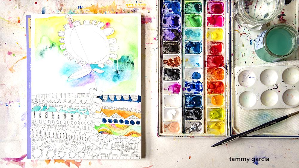 Daisy Yellow Tiny Adventure workshop in watercolor or gouache https://daisyyellowart.com/workshops
