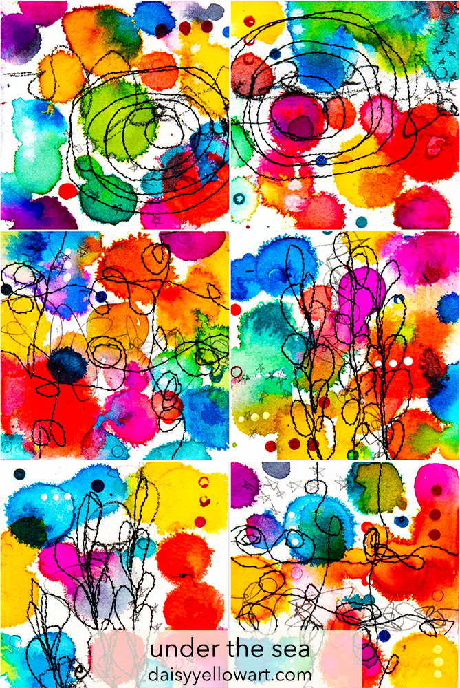 Tiny abstracts in ink & thread by Tammy Garcia https://daisyyellowart.com #sewingpaper