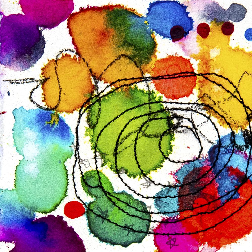 Ink and thread by Tammy Garcia https://daisyyellowart.com