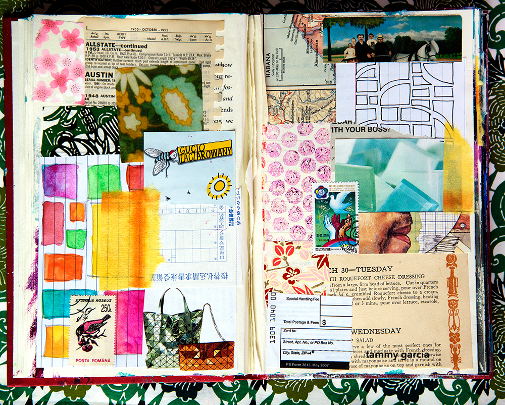 Patterns drawn on index cards, used as elements in art journal collage.
