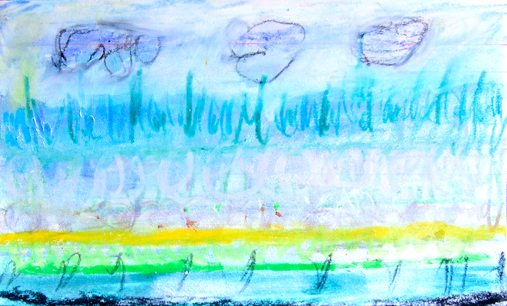 Landscape drawn with Neocolor II on index card.