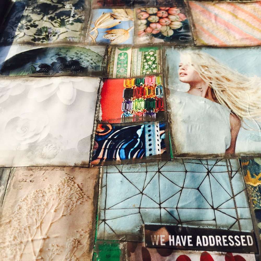 Collage elements edged with Neocolor I wax crayons.