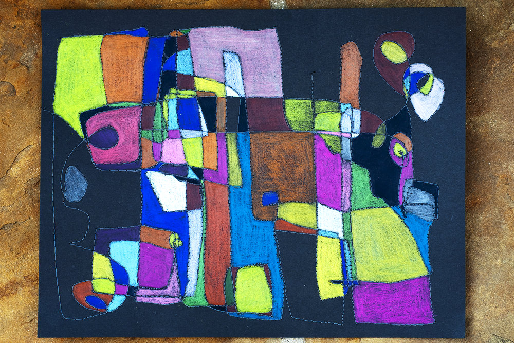 Neocolors and thread on black paper.