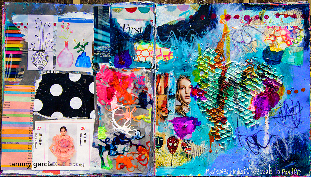 Mixed media art journal page with a bit of everything including molding paste, found papers, magazine images, Neocolor II, acrylics, alcohol inks, painted papers.