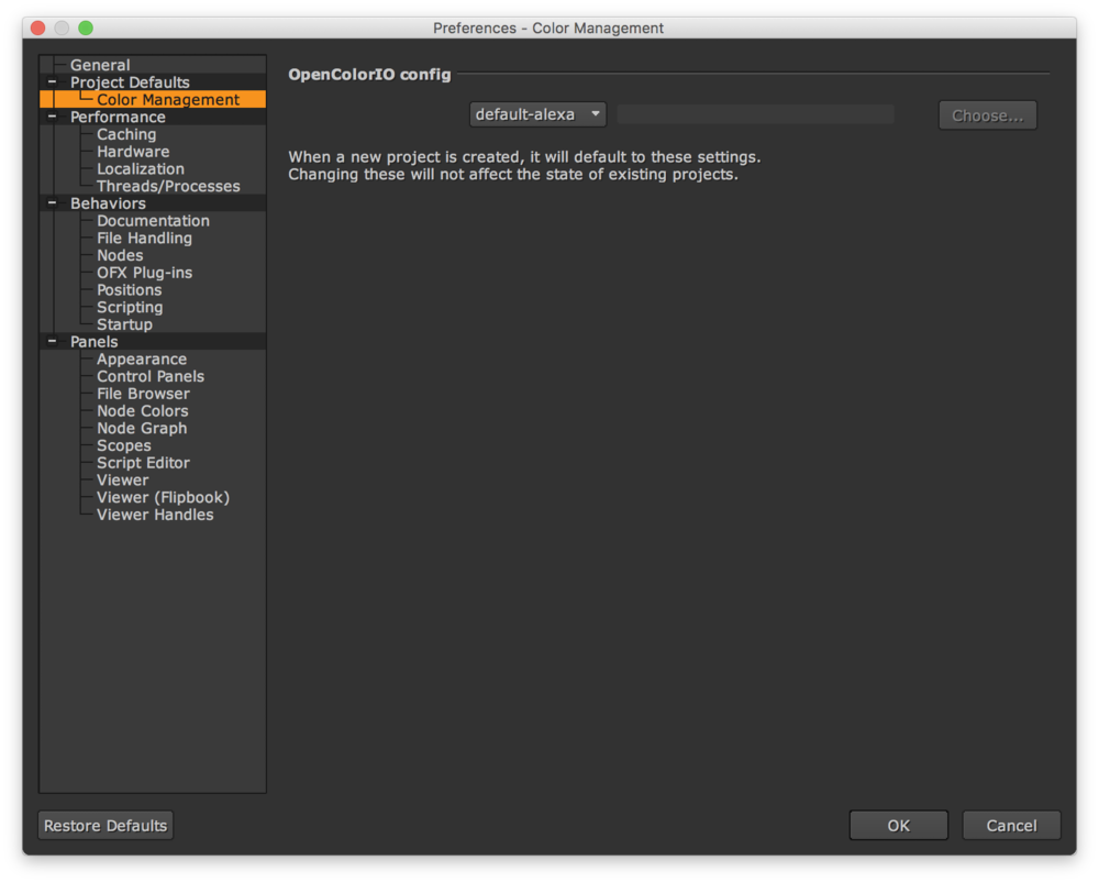 Choosing our custom OCIOConfig in the Nuke application preferences.