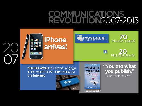 "2007 introduced both the iPhone and the first edition of David Meerman Scott's book: ""The New Rules of Marketing & PR"""