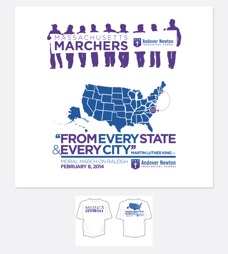Andover Newton Theological school marchers will be wearing T-shirts that EYMER recently designed for the school.
