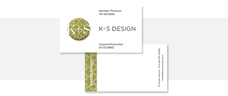 Business card, front + back.