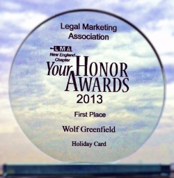 Legal Marketing Association | New England Chapter 'Your Honor Awards 2013' | Holiday Card Winner