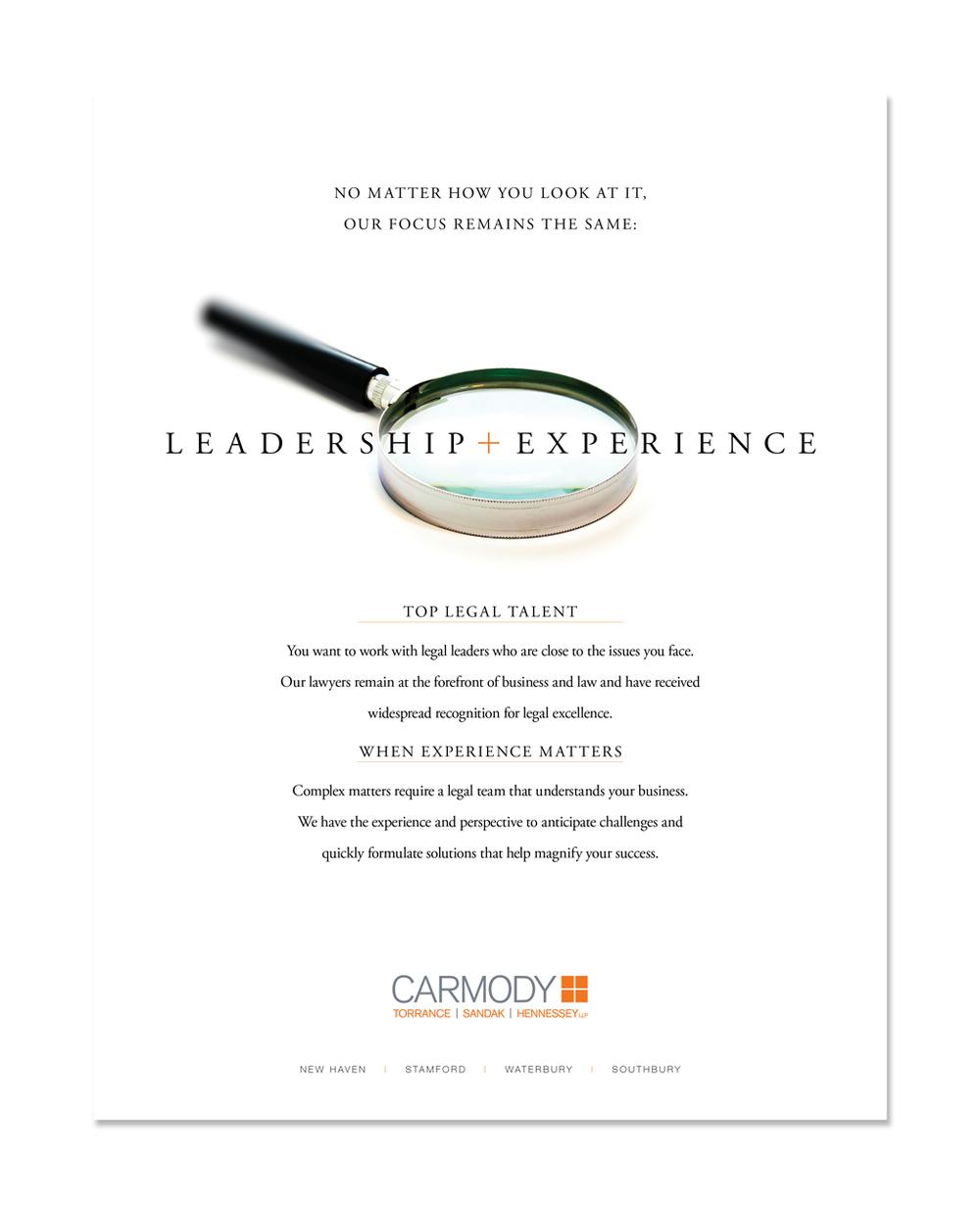 LEADERSHIP + EXPERIENCE Print Ad: Carmody Torrance Sandak & Hennessey LLP