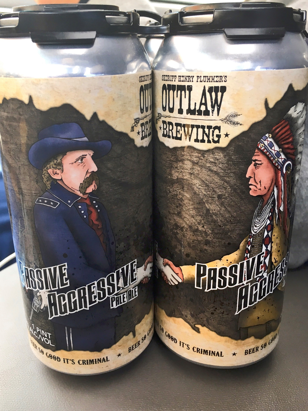 Place the two cans together and you see General Custer shaking hands with Sitting Bull.