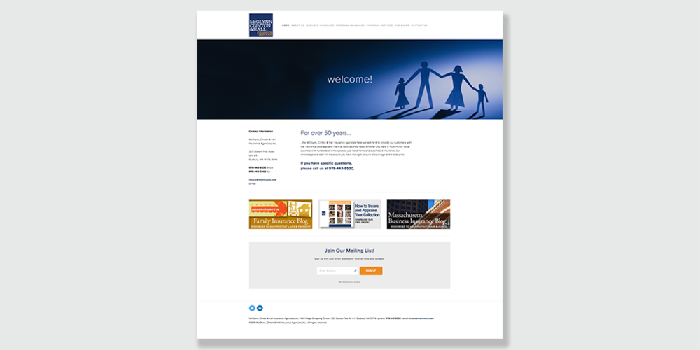 www.mchinsure.com 's home page (2016)