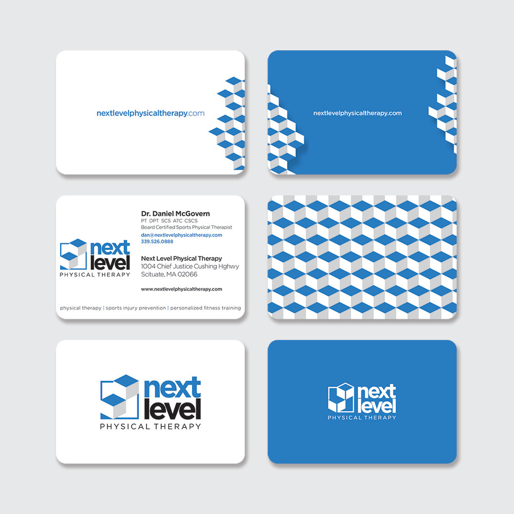 business card (common front + five distinct backs)