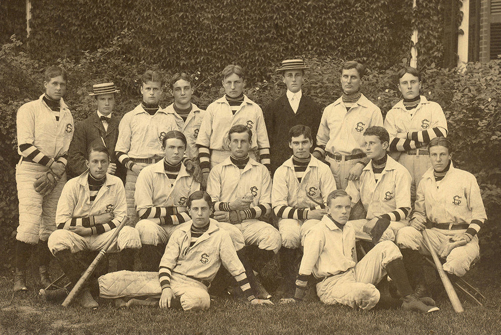 Groton School baseball team (circa 1900). Team manager Franklin Delano Roosevelt is wearing the suit and is standing in the middle of the back row.